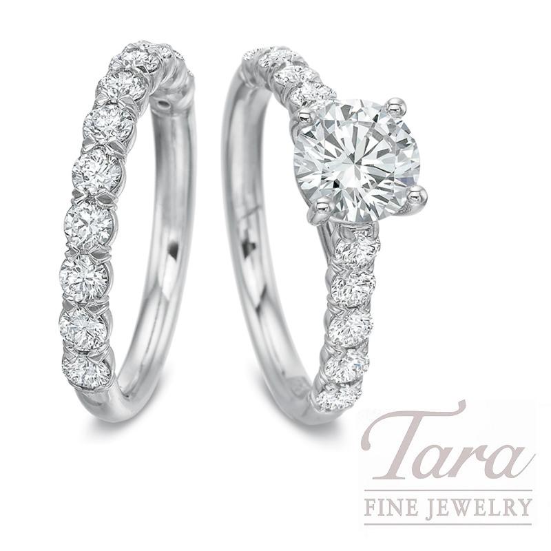 18k White Gold Diamond Wedding Set - Click for Available Sizes! (Center Stone Sold Separately)