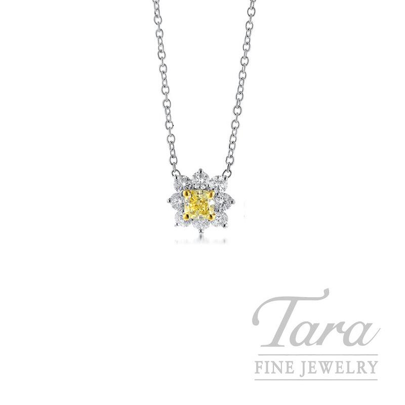 Forevermark 18K White Gold Flower Pendant, .81CT Fancy Yellow Diamond, .95TDW