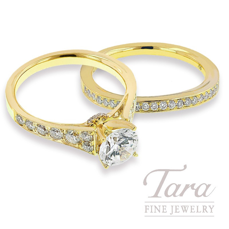 18k Yellow Gold Diamond Wedding Set, .76TDW (Center Stone Sold Separately)