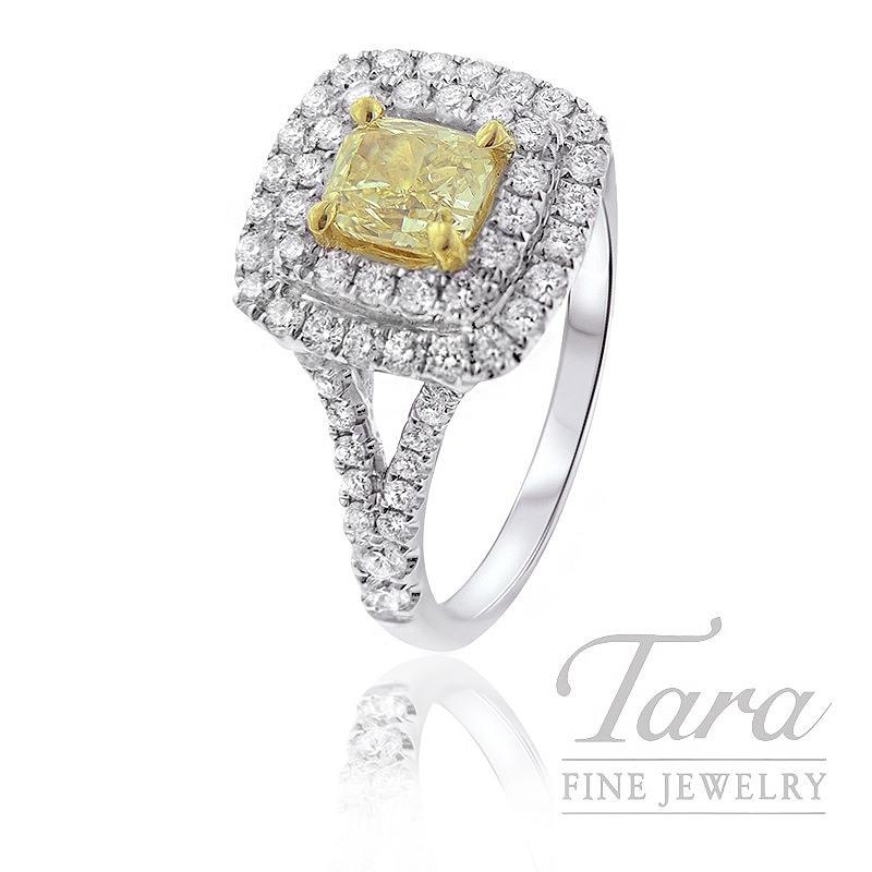 Forevermark 18K White Gold Diamond Ring, .71CT Yellow Diamond, .71TDW