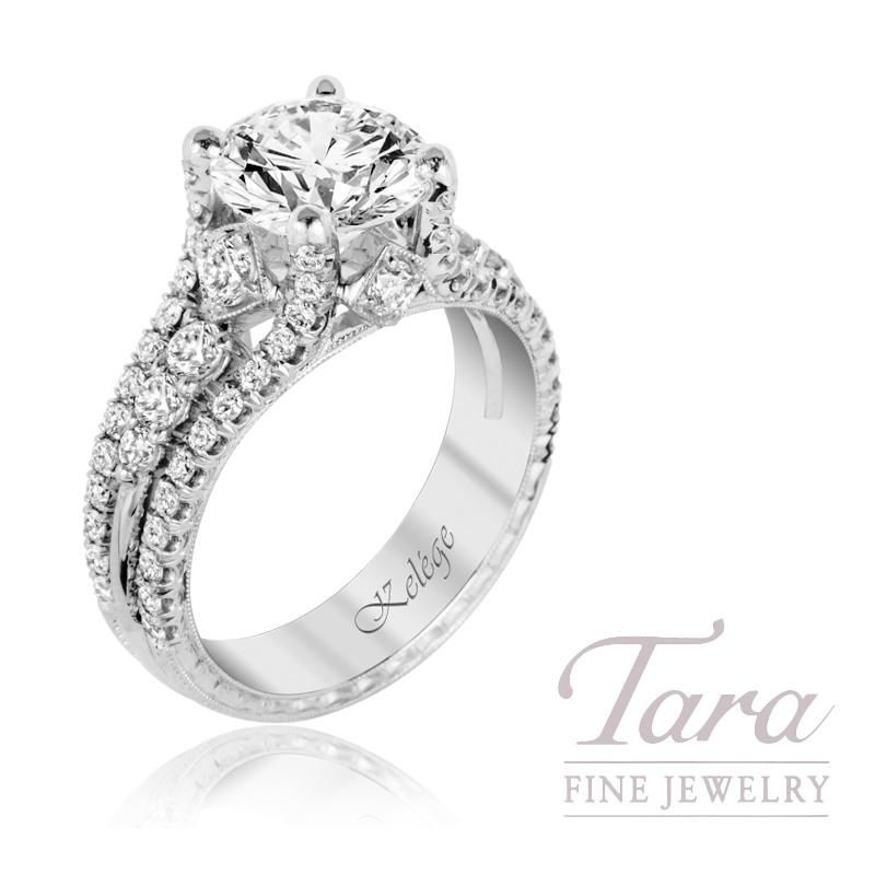 Jack Kelege 18K White Gold Diamond Engagement Ring, 2.0CT Round Brilliant Diamond, 6.9G, 1.00TDW (Center Stone Sold Separately)
