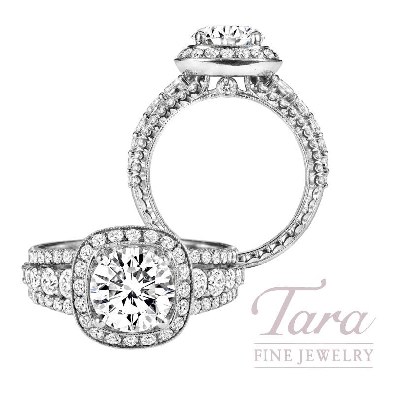 Jack Kelege 18K White Gold Diamond Halo Engagement Ring, 7.6G, 1.20TDW (Center Stone Sold Separately)