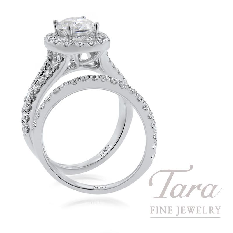 18K White Gold Diamond Halo Wedding Set, 1.05TDW (Center Stone Sold Separately)