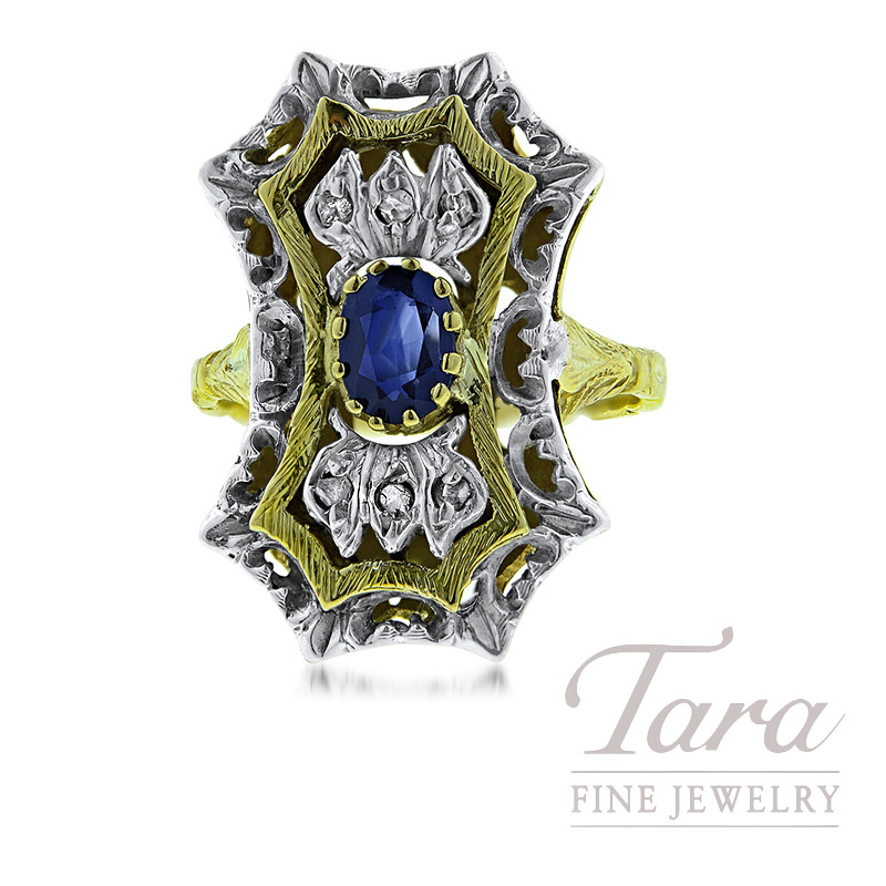 18K Two-Tone Diamond and Sapphire Estate Ring