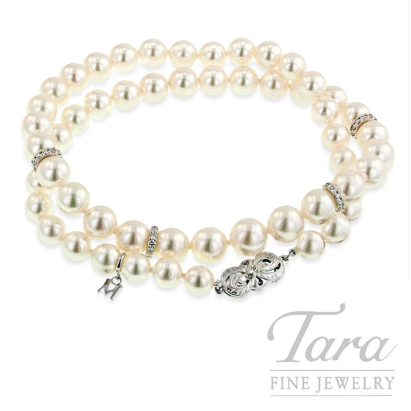 """Mikimoto Pearl and Diamond Necklace, .84 TDW, 18"""""""