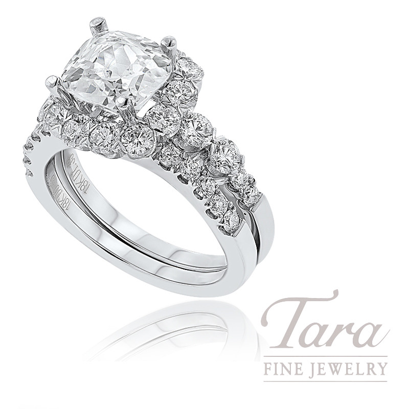 18k White Gold Diamond Halo Engagement Ring and Wedding Band, 1.70TDW (Center Stone Sold Separately)
