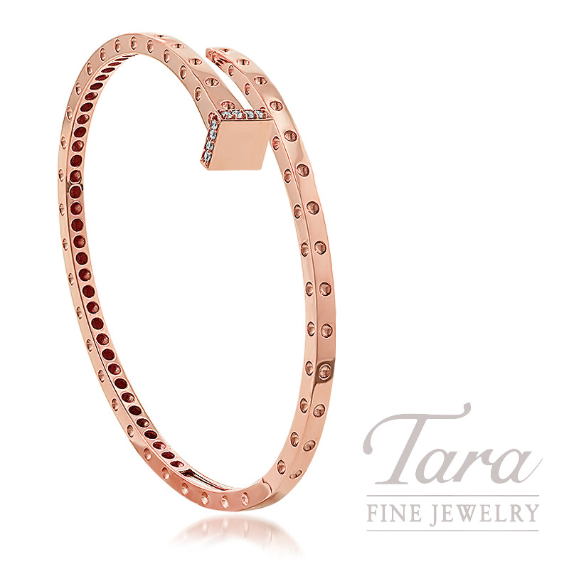 "Roberto Coin 18K Rose Gold Off-set Diamond Bangle, 13.3G, .09TDW, ""Pois Moi"" Collection"