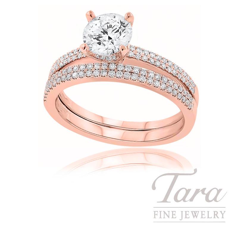 18k Rose Gold Diamond Wedding Set, .32TDW (Center Stone Sold Separately)