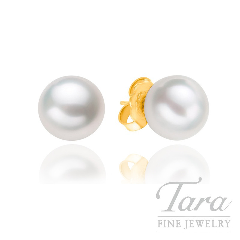 Mikimoto Pearl Stud Earrings in 18K Yellow Gold - Please Click for Availability!