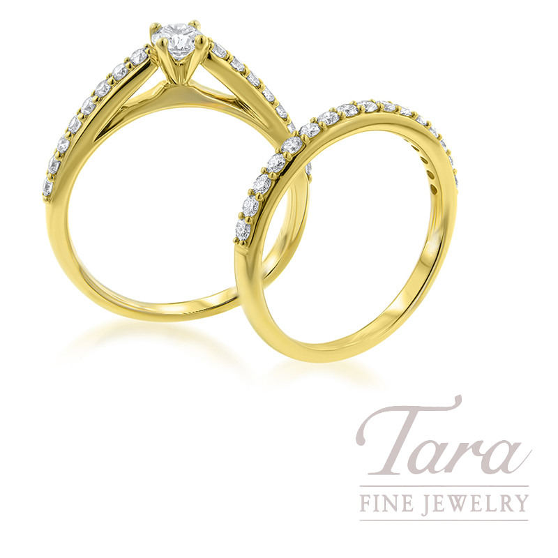 14k Yellow Gold Diamond Wedding Ring and Band, .25CT Center in Semi-Mount
