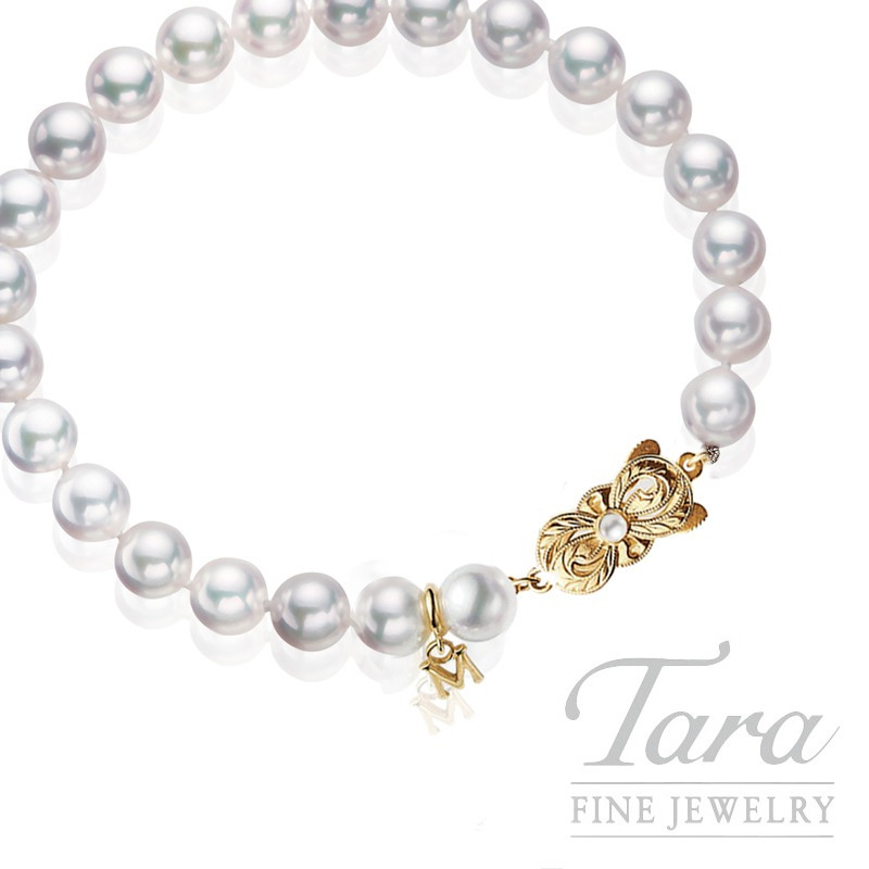 Mikimoto Pearl Bracelet with Yellow Gold Clasp - Click for Availability!