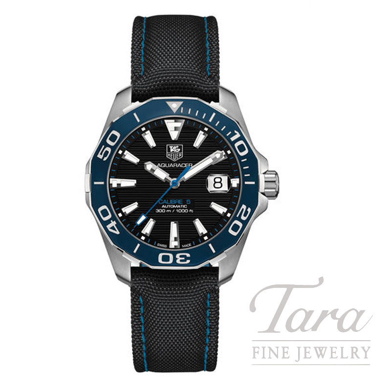 Tag Heuer 41mm Aquaracer Auto, Black and Blue Nylon Strap
