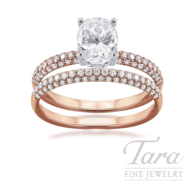18k Rose Gold and Platinum Pave Diamond Wedding Set, .73TDW (Center Stone Sold Separately)