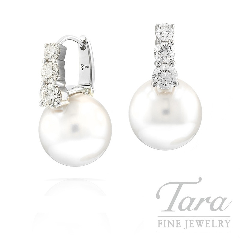 Mikimoto South Sea Pearl and Diamond Earrings in 18k White Gold,  1.01tdw