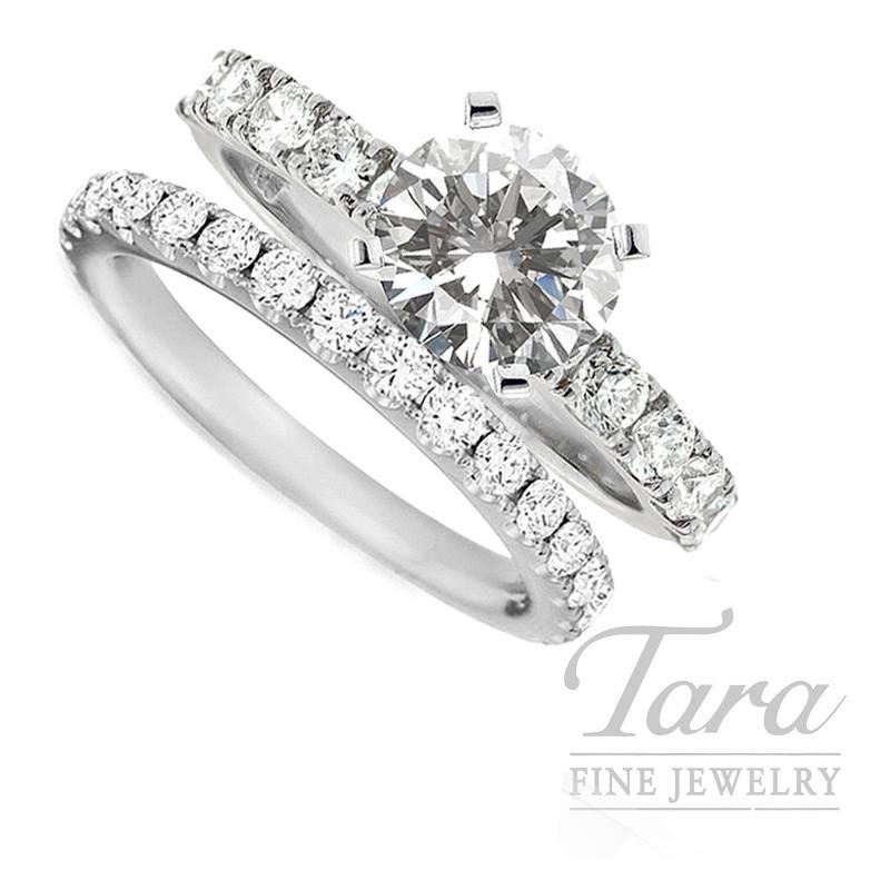 18k White Gold Diamond Wedding Set, 2.77TDW (Center Stone Sold Separately)