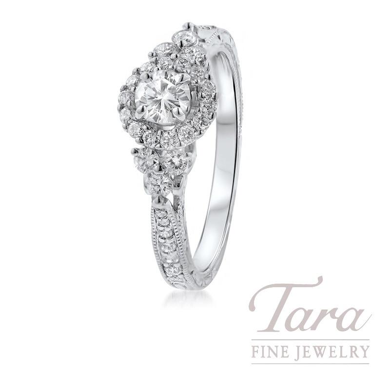 14K White Gold Diamond Halo Engagement Ring, .24CT Center Diamond, .45TDW