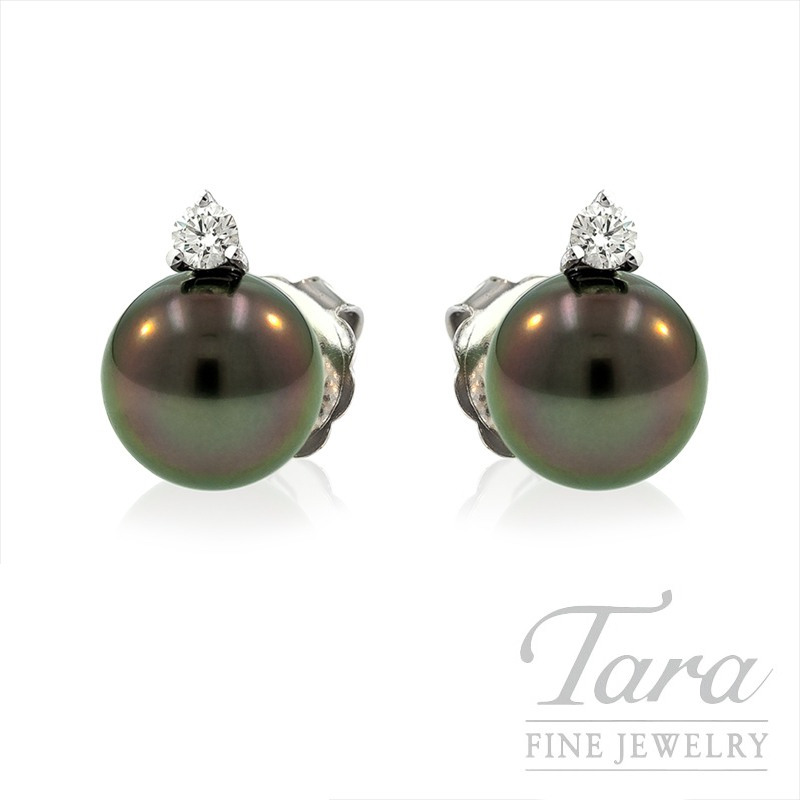 Mikimoto Black Pearl and Diamond Earrings in 18k White Gold, .20tdw