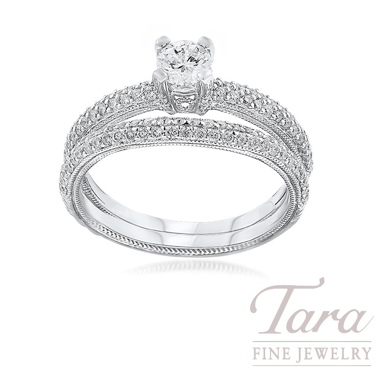 18k White Gold Pave Diamond Wedding Set, .30CT Round Diamond, .55TDW