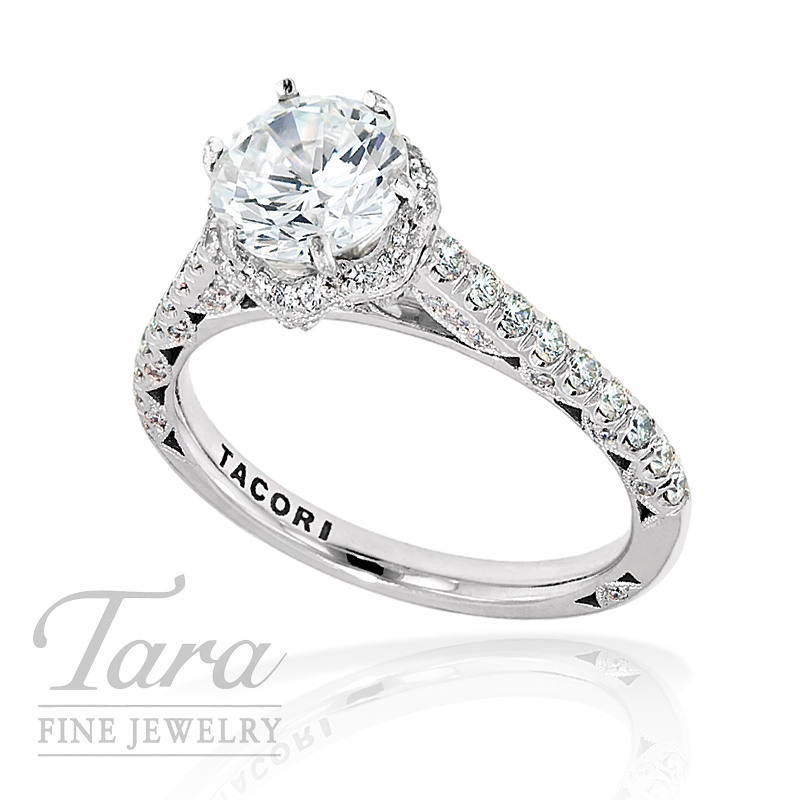 Tacori Diamond Wedding Ring in 18k White Gold, .53 ctw (Center stone sold separately)