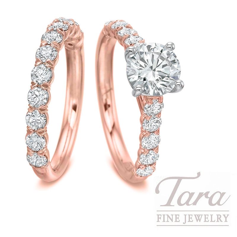 18k Rose and White Gold Diamond Wedding Set, 1.11TDW (Center Stone Sold Separately)