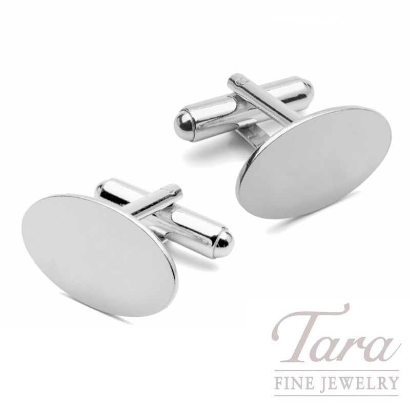 Sterling Silver Oval Cufflinks