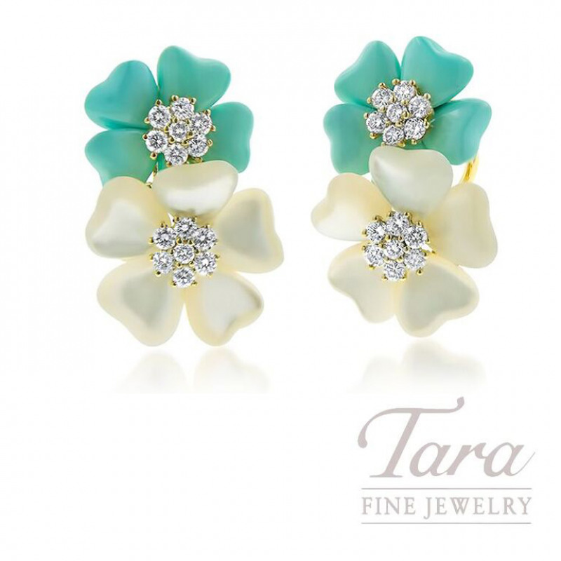 18K Yellow Gold Mother of Pearl, Turquoise, and Diamond Flower Estate Earrings, .56TDW