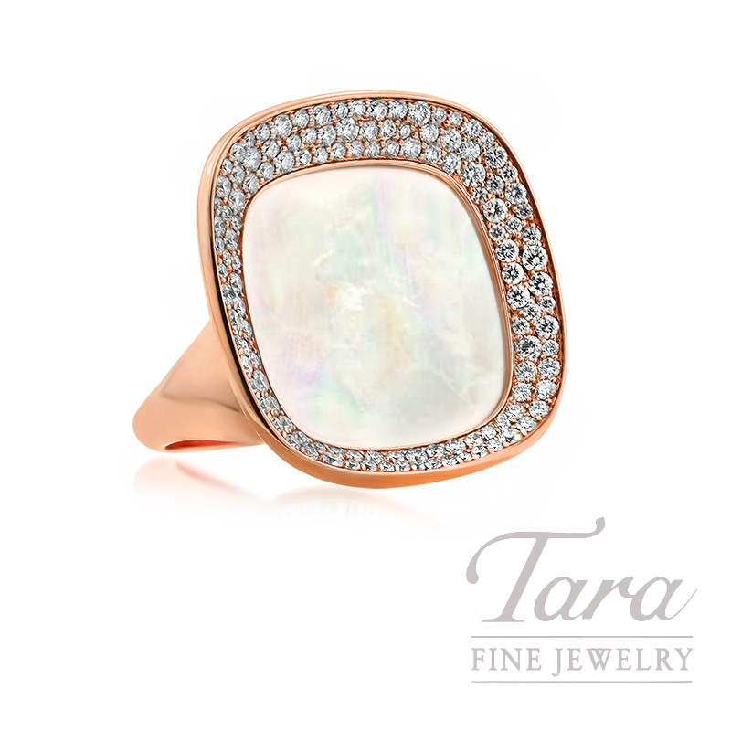 """Roberto Coin 18k Rose Gold Mother of Pearl and Diamond Ring, 1.27TDW, """"Carnaby Street"""" Collection"""