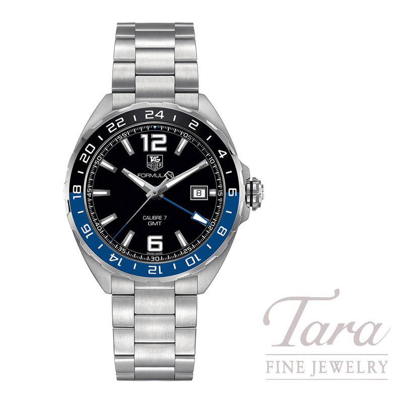 Tag Heuer Watch Formula 1 GMT Automatic, Black and Blue Bezel, Black Dial