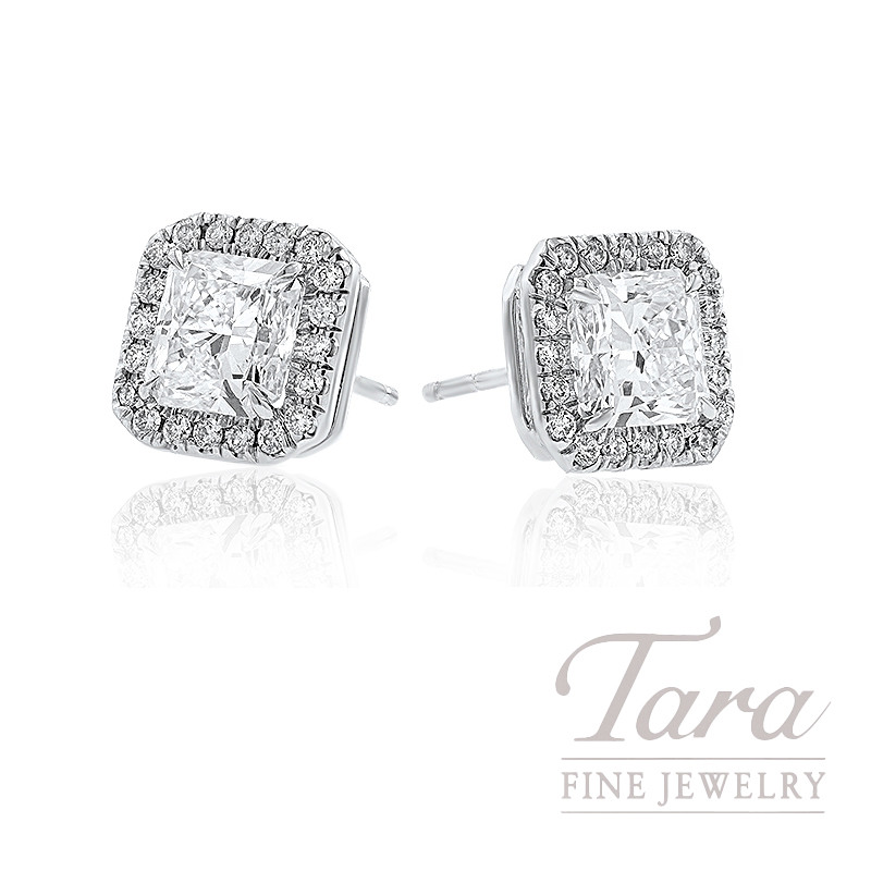 Forevermark 18k White Gold Radiant Cut Diamond Halo Stud Earrings, 1.06CT Radiant Cuts,  .21TDW