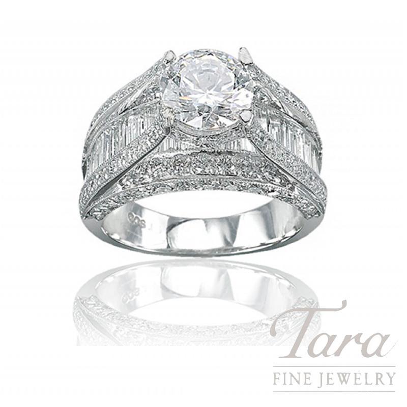 J.B. Star Platinum Baguette Diamond Engagement Ring, 3.01TDW (Center stone sold separately)