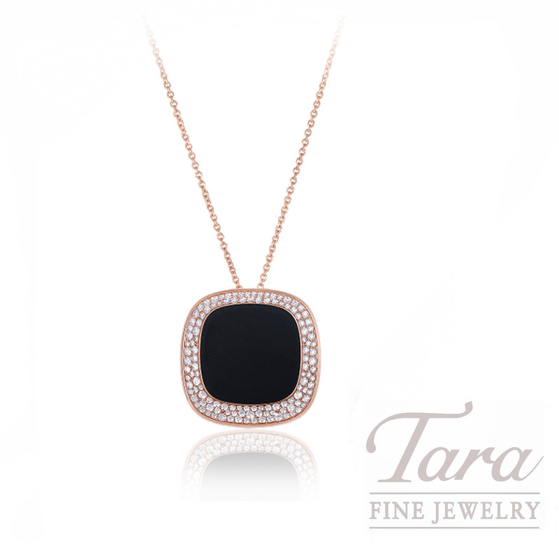 """Roberto Coin 18k Rose Gold Black Jade and Diamond Necklace, 18/28"""" Chain, 1.25TDW, """"Carnaby Street"""" Collection"""