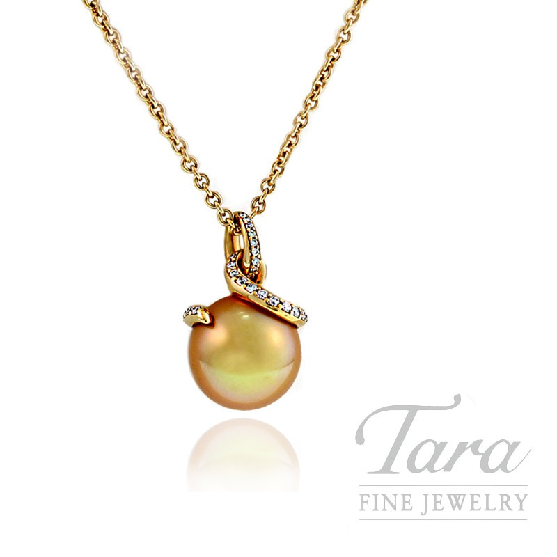 Mikimoto Pearl Pendant with 11mm Golden South Sea Pearl in 18k Yellow Gold, .20 TDW