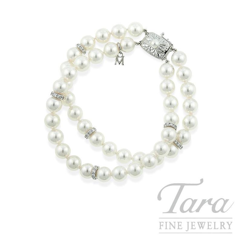 Mikimoto Double Strand Pearl and Diamond Bracelet in 18k White Gold, .90tdw