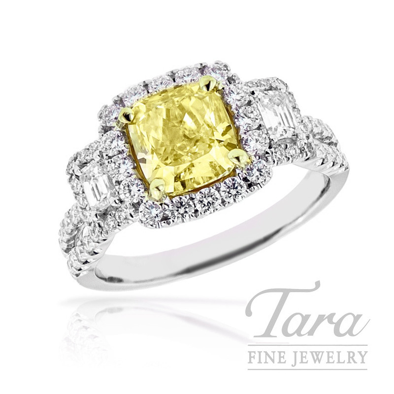 Forevermark Fancy Yellow Diamond Engagement Ring, 1.70CT Center, .26TDW Accents, .55TDW Halo, 18K White Gold
