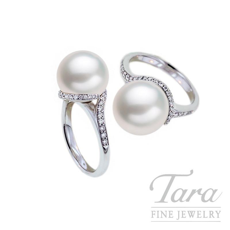 Mikimoto Pearl & Diamond Ring in 18K White Gold, .25tdw