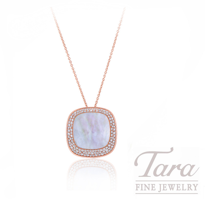 "Roberto Coin 18k Rose Gold Mother of Pearl and Diamond Necklace, ""Carnaby Street"" Collection"