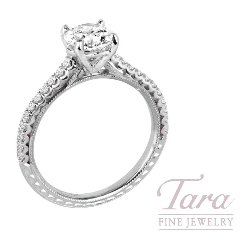 Jack Kelege 18k White Gold Diamond Engagement Ring, 3.1G, .25TDW (Center Stone Sold Separately