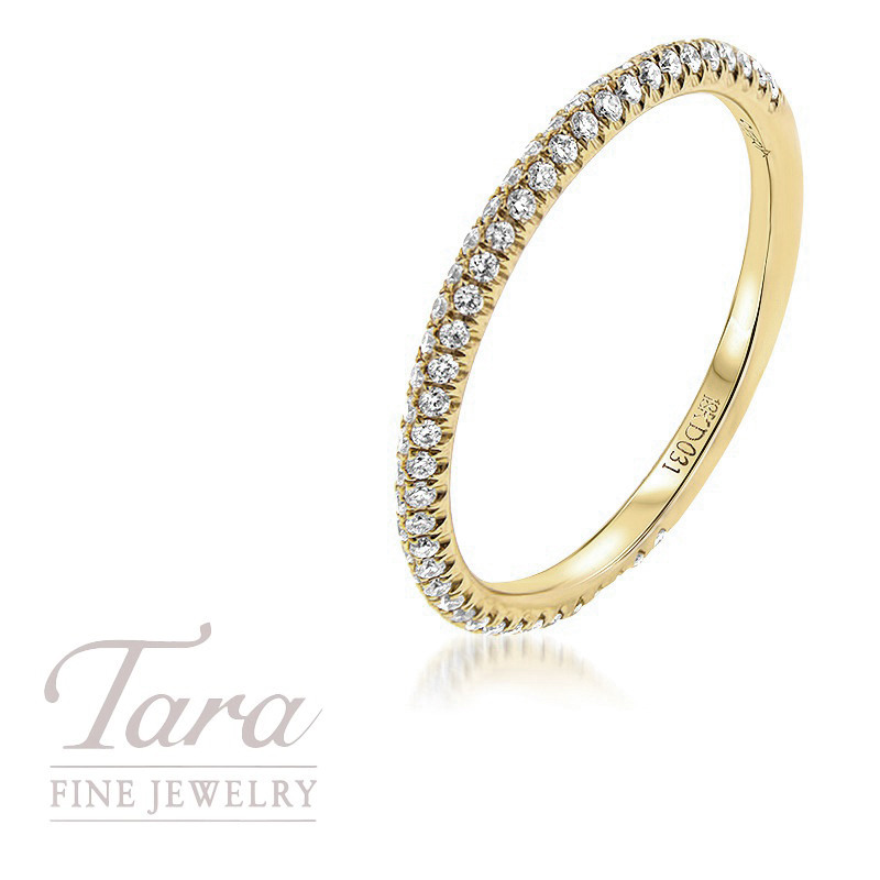 18K Yellow Gold Pave Diamond Band, .25TDW
