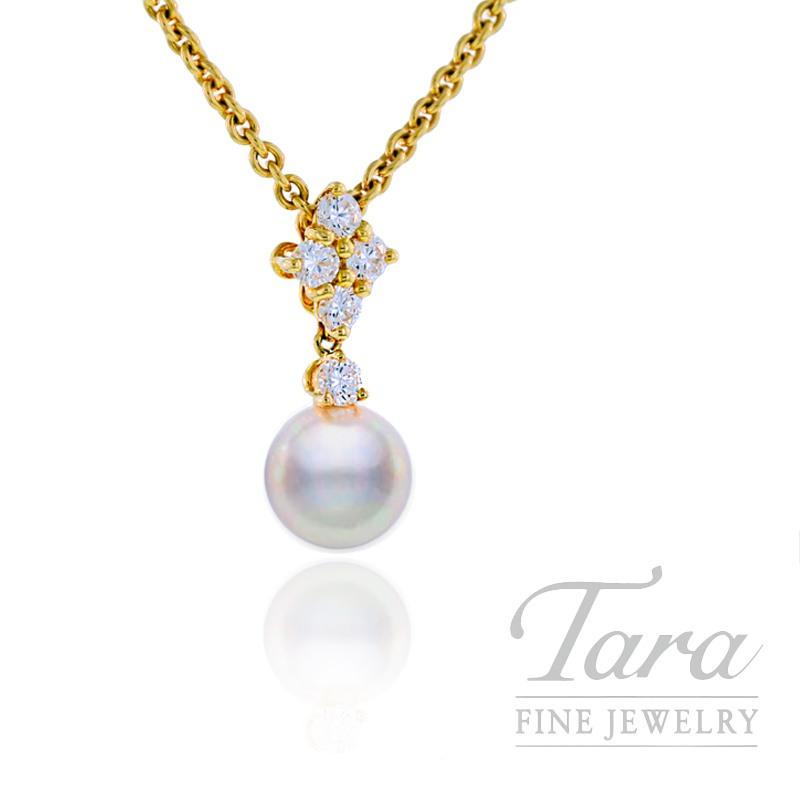 Mikimoto Pearl & Diamond Pendant with 8mm Pearl, .35 tdw