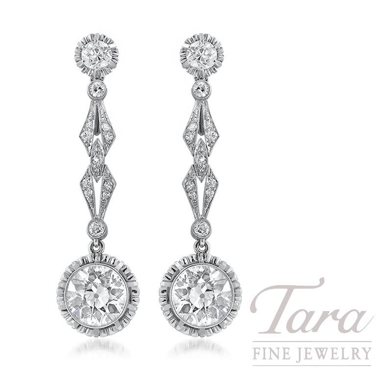 Platinum and 18k Yellow Gold European Cut Diamond Earrings, 4.30TDW