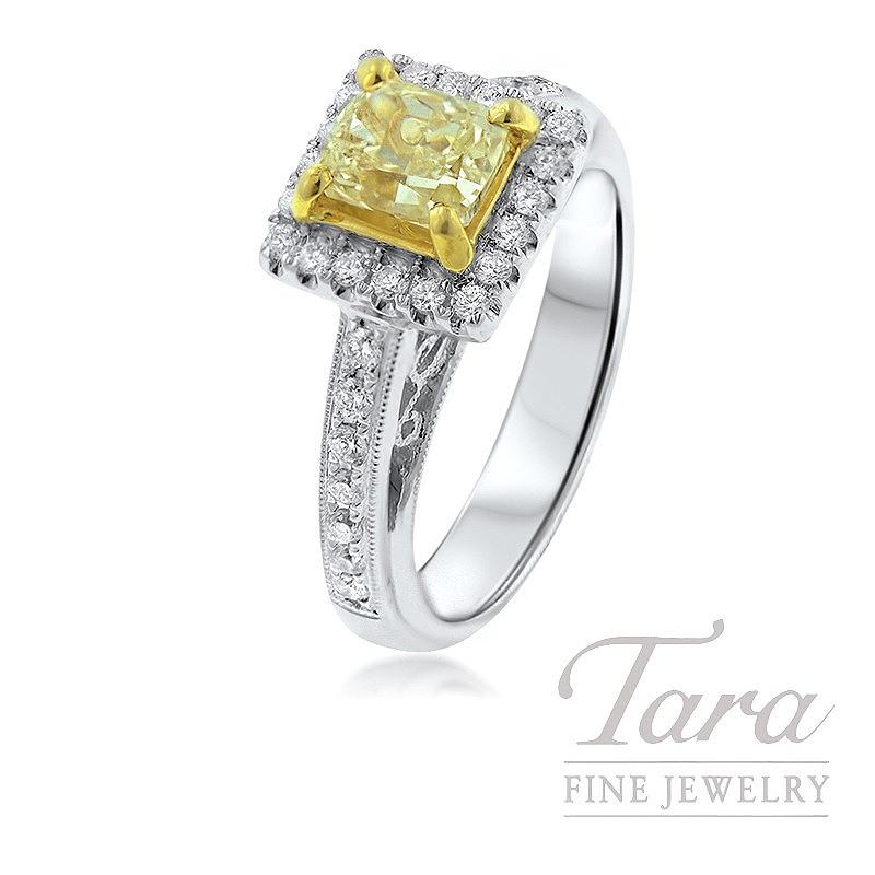 Forevermark 18K White Gold Diamond Ring, 1.0CT Yellow Diamond, .42TDW