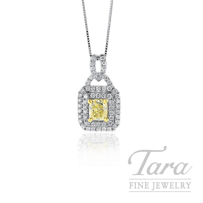 Forevermark 18K White Gold Pendant, .77CT Yellow Diamond, .53TDW