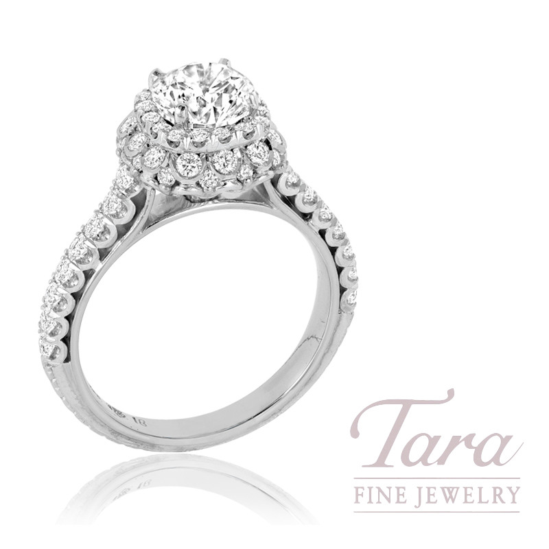 Jack Kelege 18K White Gold Diamond Halo Engagement Ring, 5.2G, .82TDW (Center Stone Sold Separately)