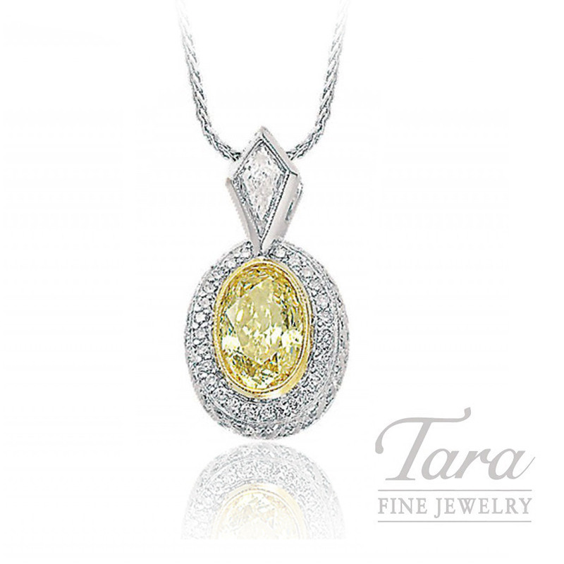 J.B. Star Platinum Oval Fancy Yellow Diamond Pendant, 2.07CT Fancy Yellow Diamond, .22CT Kite Diamond, .40TDW Round Diamonds