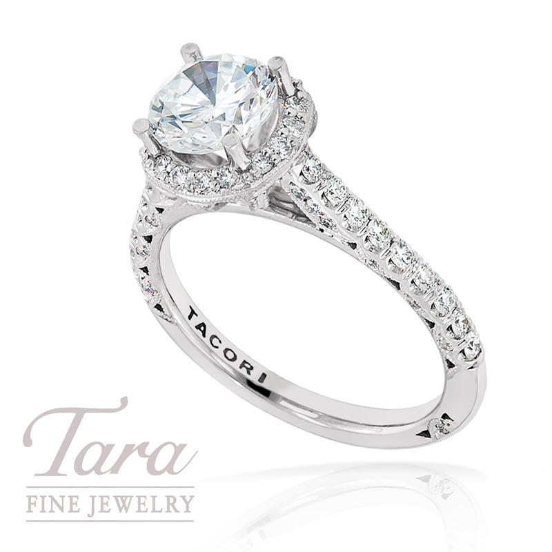 Tacori Diamond Engagement Ring in 18k White Gold, .49 ctw (Center stone sold separately)