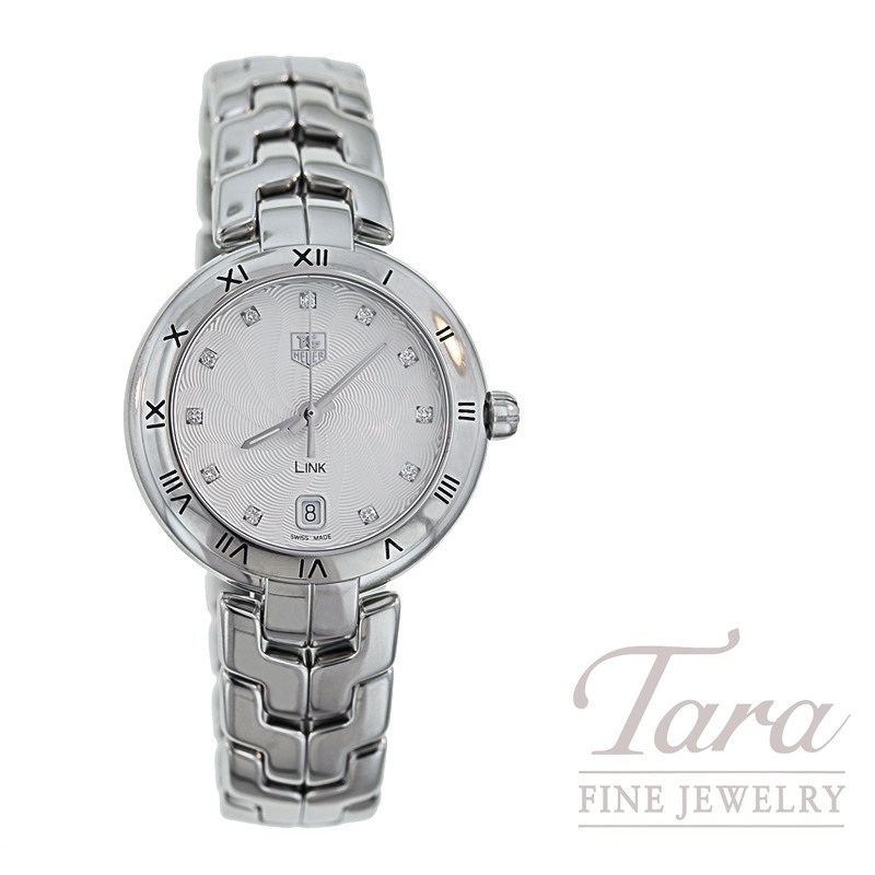 Tag Heuer Watch 34.5mm Link, Silver Guilloche and Diamond Dial, .10TDW