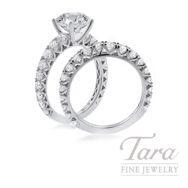 18K White Gold Diamond Wedding Set, 2.31TDW (Center Stone Sold Separately)