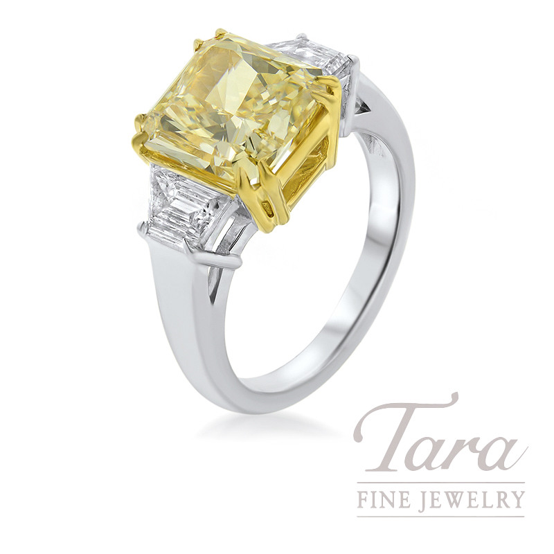 Forevermark  18K White and Yellow Gold Semi-Mount, 5.07CT Fancy Yellow-VS2 Center, .88TDW