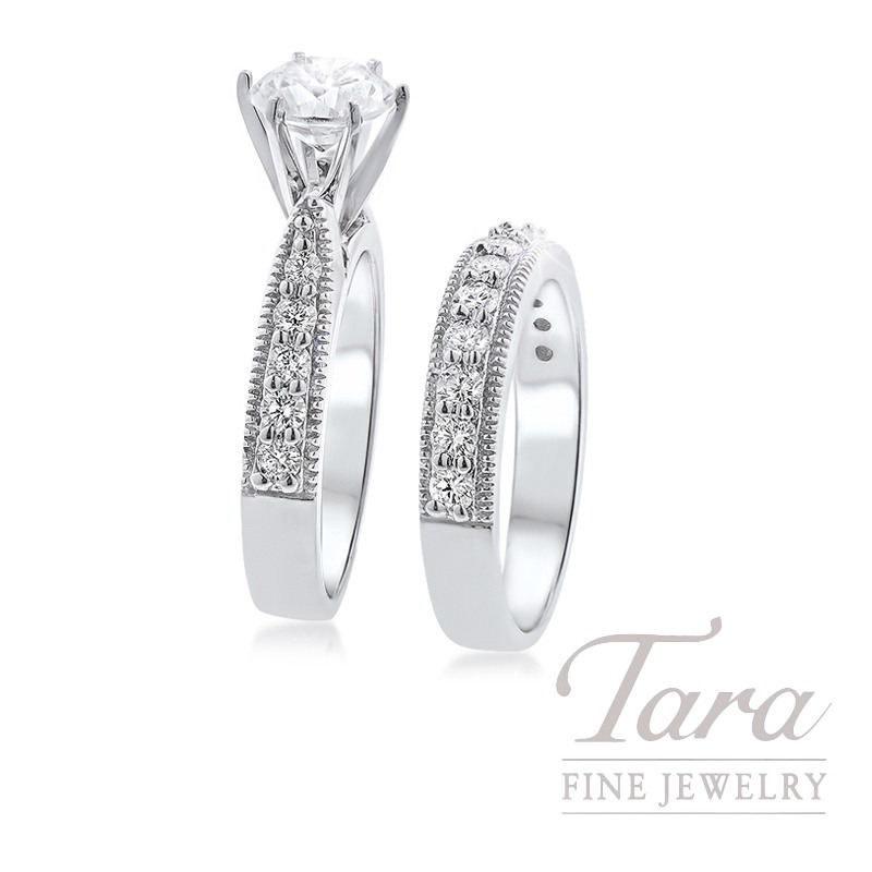 18K White Diamond Engagement Ring and Band, .95TDW (Center Stone Sold Separately)