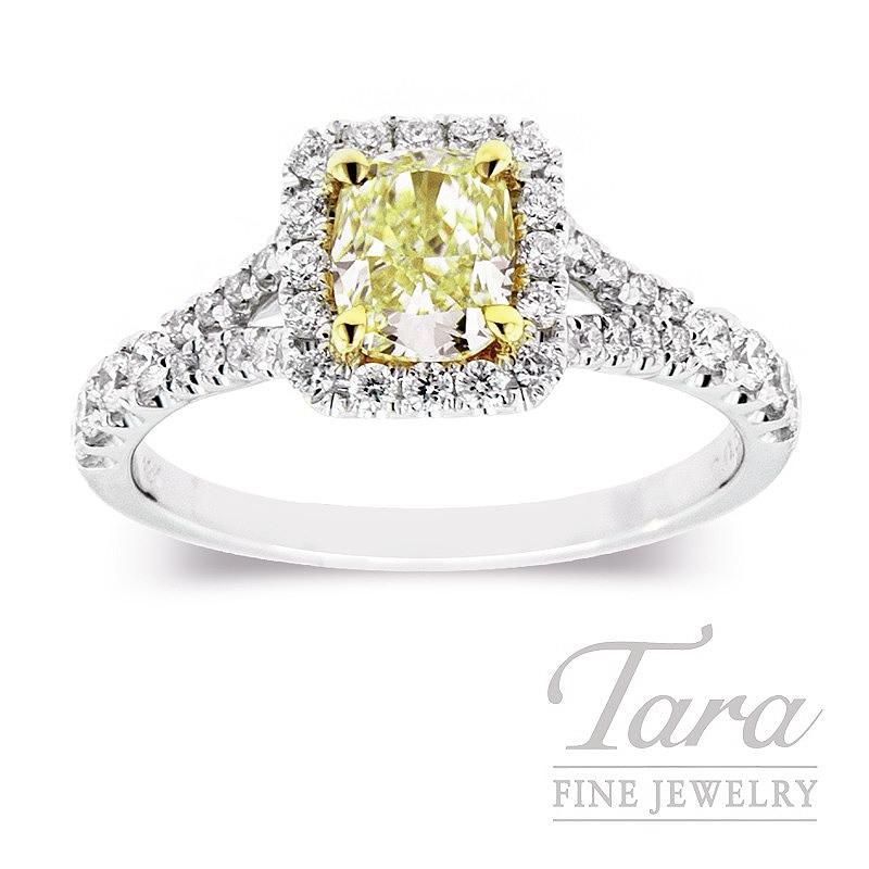 Forevemark 18K Two-Tone Fancy Yellow Diamond Halo Ring, .72CT Fancy Yellow Center, .41TDW Halo